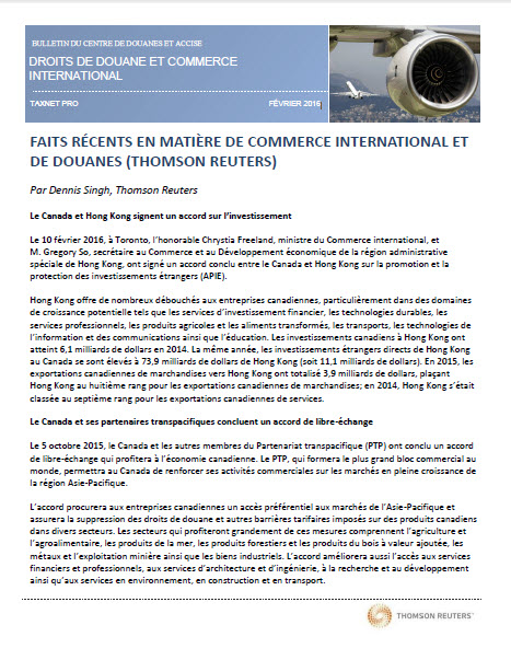 Droits de douane et commerce international