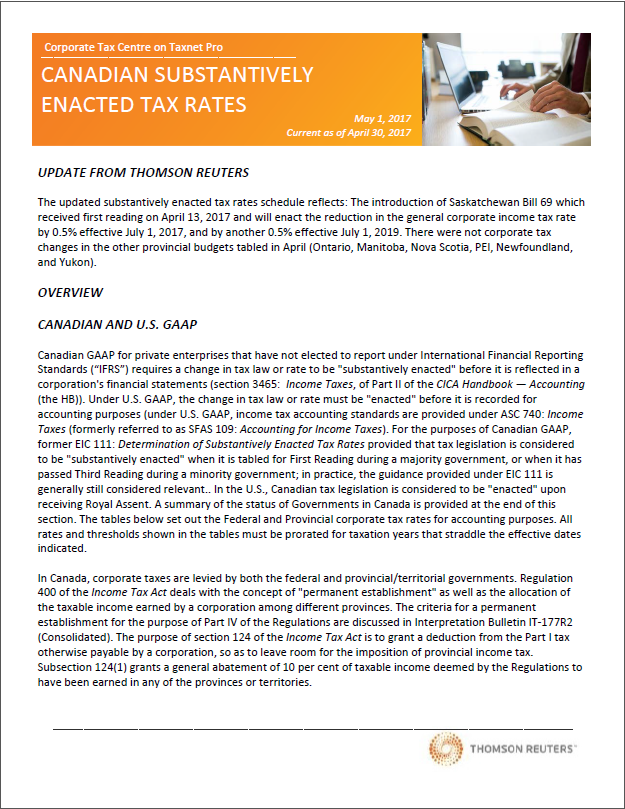 Substantively Enacted Rate Table