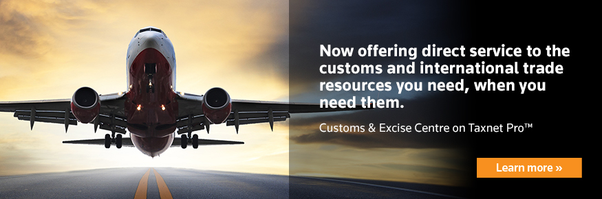 Customs and excise centre on Taxnet Pro